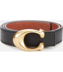 coach women's 25mm c reversible belt - black 1941 saddle - l
