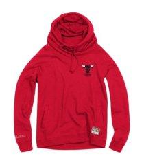 mitchell & ness women's chicago bulls funnel neck fleece hoodie