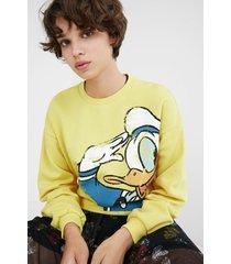 sweatshirt illustration frayed hem - mickey mouse - yellow - xl