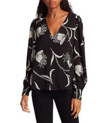 joie women's yadra floral blouse - caviar - size xs