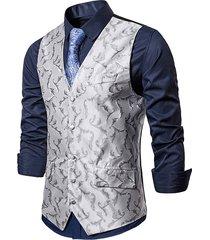 baroque jacquard single breasted formal business vest
