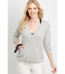 maurices womens splice solid pullover hoodie gray
