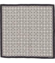 salvatore ferragamo gancini square silk scarf in bone/black at nordstrom