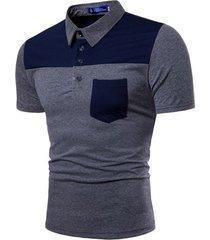 camiseta de solapa de color de manga corta para hombre-pl17