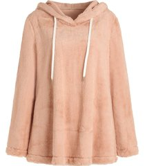 pullover drawstring fluffy hoodie
