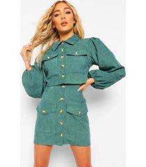 korte corduroy jas met volle mouwen en rok set, emerald