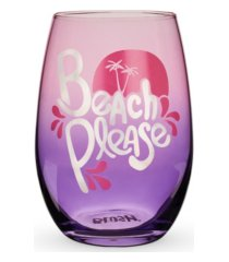 blush beach please stemless wine glass
