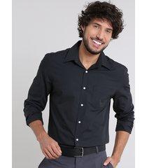 camisa masculina comfort com bolso manga longa preta