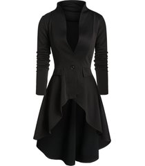 one button faux pockets high low skirted coat