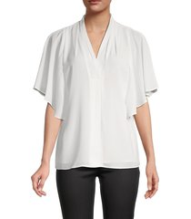 calvin klein women's drape-sleeve flowy top - soft white - size s