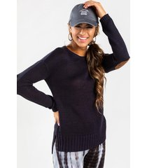 charli elbow patch sweater - navy