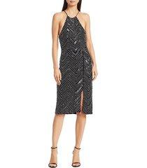 alice + olivia women's ferne embellished zip-slit dress - black - size 2