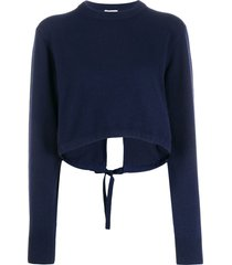 chloé back tie cropped jumper - blue