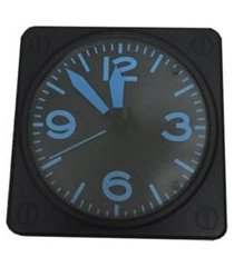 relógio de parede azul black plástico 31x21 cm