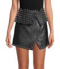 balmain women's spikes & studs lambskin mini skirt - black silver - size 40 (8)