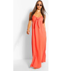 crepe tie front strappy maxi dress, orange
