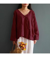 zanzea 2018 mujeres del estilo chino cuello en v manga larga de algodón botones de la blusa de lino primavera sólido camisa de split hem baggy top m-5xl vino tinto -rojo
