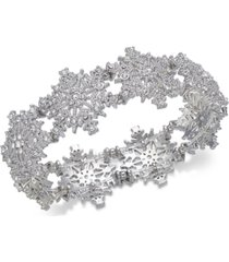 holiday lane silver-tone crystal snowflake stretch bracelet, created for macy's