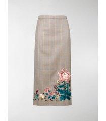 erdem embroidered check skirt