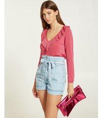 motivi maglia lurex con rouches donna rosa