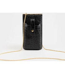 cami phone crossbody wallet in black - black