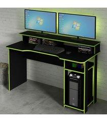 mesa gamer ideal para 2 monitores preto/verde me4153 - tecno mobili