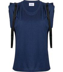 dondup contrast strap vest - blue