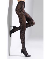 natori feathers lace net tights, women's, black, size l natori