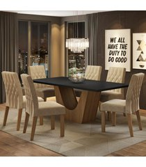 conjunto sala de jantar madesa eduarda mesa tampo de madeira com 6 cadeiras marrom - marrom - dafiti