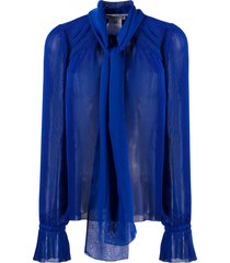 marco de vincenzo micro-pleated scarf blouse - blue