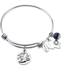 "unwritten ""texas girl"" and sodalite (8mm) bangle bracelet in stainless steel silver plated charms"