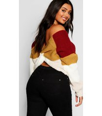 plus stripe knot back sweater, red