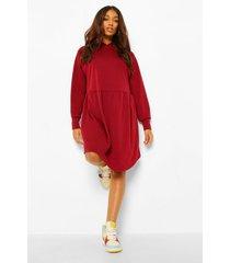 zwangerschaps gesmokte sweatshirt jurk met capuchon, wine