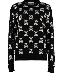 moschino teddy bear jacquard knit sweater