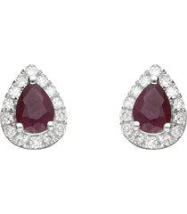 orecchini a lobo a goccia in oro bianco con rubini 0,36 ct e diamanti 0,085 ct per donna