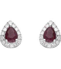 orecchini a lobo a goccia in oro bianco con rubini 0,44 ct e diamanti 0,09 ct per donna