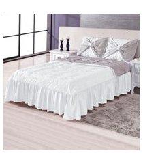 colcha cobre leito casal glamour branco 3 peças