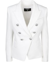 balmain double breasted canvas blazer