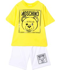 moschino white and yellow teen suit