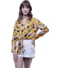 camisa amarração frontal floral pop me