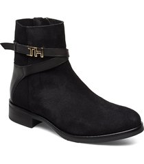 th hardware suede flat bootie shoes boots ankle boots ankle boots flat heel svart tommy hilfiger
