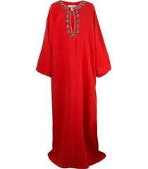 carolina herrera embellished neckline kaftan dress - red