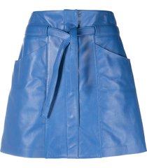 isabel marant belted a-line lambskin skirt - blue