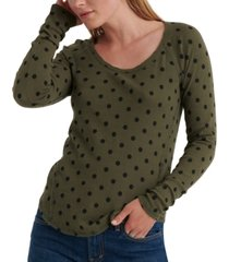 lucky brand cotton polka-dot print thermal top