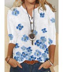 camicetta a maniche lunghe con colletto alla coreana con stampa floreale per donna