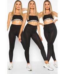 basic leggings met hoge taille (3 stuks), zwart