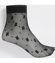river island womens black 'rir' logo mesh ankle socks