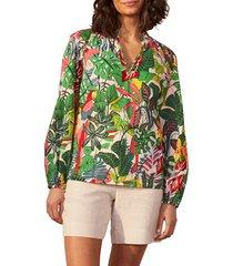 women's boden heather split neck blouse, size 6 - green