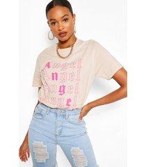 angel repeat print t-shirt, sand