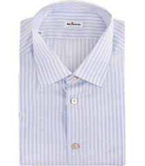 man regular fit white and light blue multitrack striped shirt